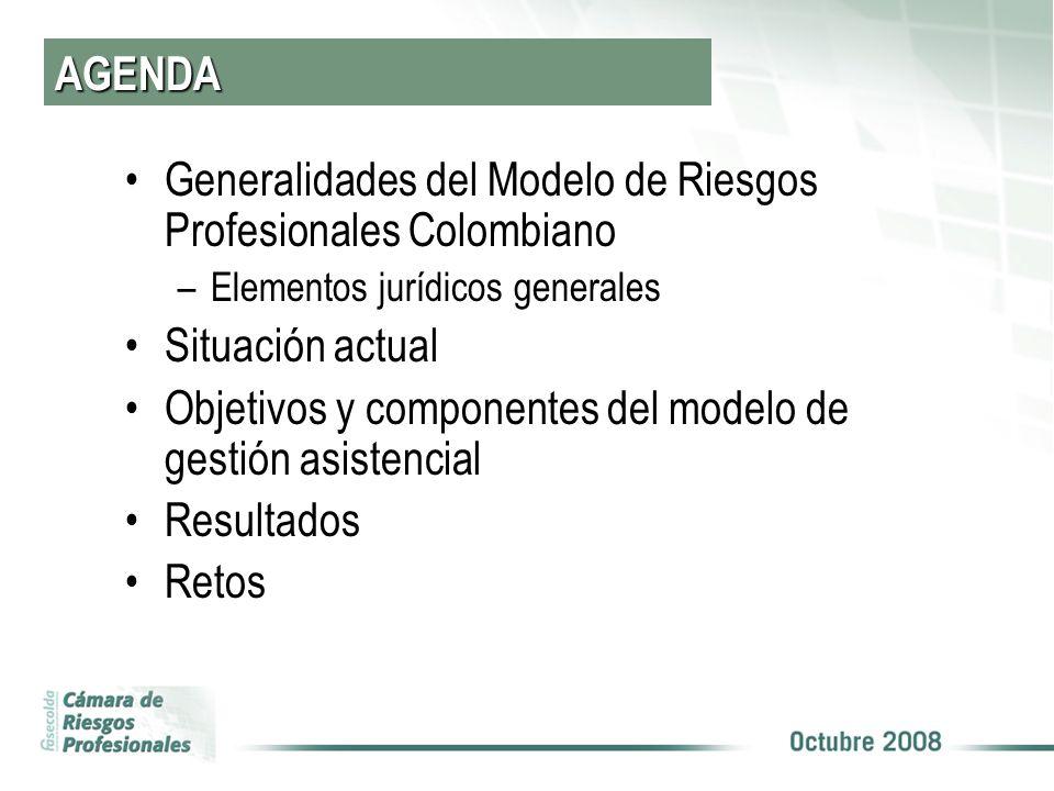 AGENDA Generalidades del Modelo de Riesgos Profesionales Colombiano –Elementos jurídicos generales Situación actual Objetivos y componentes del modelo