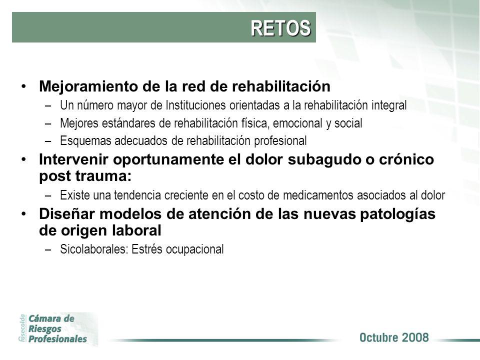 RETOS Mejoramiento de la red de rehabilitación –Un número mayor de Instituciones orientadas a la rehabilitación integral –Mejores estándares de rehabi