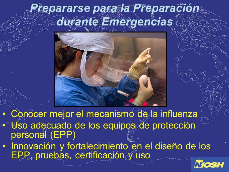 Prepararse para la Preparación durante Emergencias Conocer mejor el mecanismo de la influenza Uso adecuado de los equipos de protección personal (EPP)