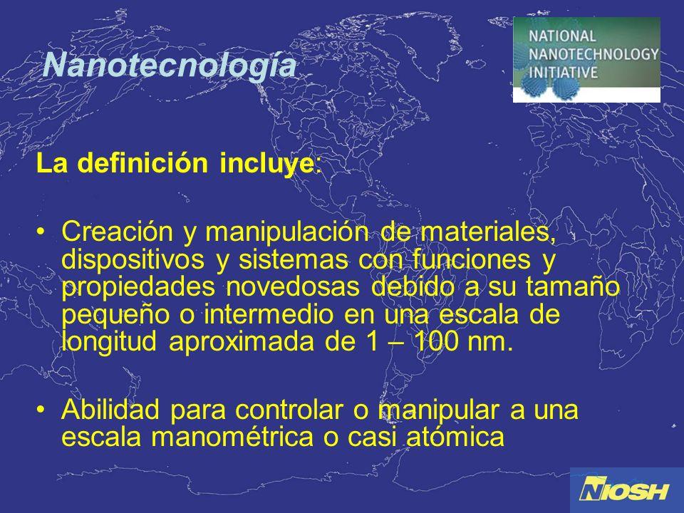 Nanotecnología La definición incluye: Creación y manipulación de materiales, dispositivos y sistemas con funciones y propiedades novedosas debido a su