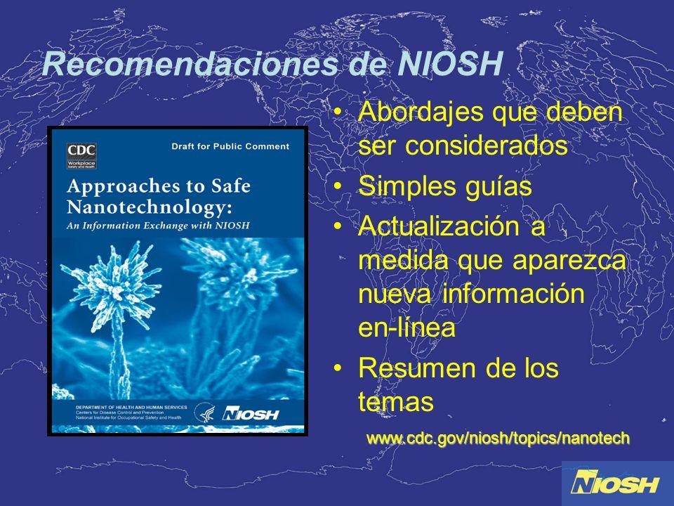 Recomendaciones de NIOSH Abordajes que deben ser considerados Simples guías Actualización a medida que aparezca nueva información en-línea Resumen de