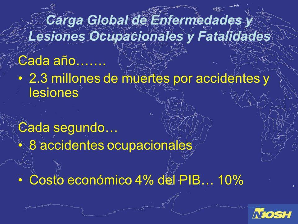 Carga Global de Enfermedades y Lesiones Ocupacionales y Fatalidades Cada año……. 2.3 millones de muertes por accidentes y lesiones Cada segundo… 8 acci