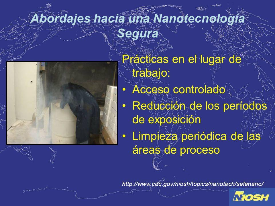 Abordajes hacia una Nanotecnología Segura Prácticas en el lugar de trabajo: Acceso controlado Reducción de los períodos de exposición Limpieza periódi