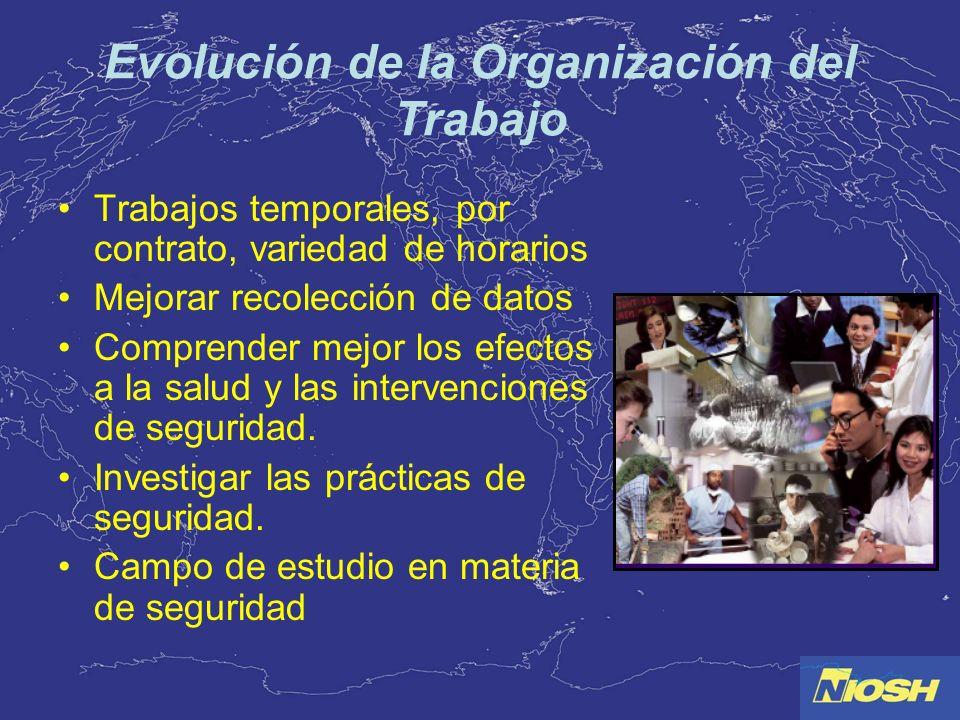 Evolución de la Organización del Trabajo Trabajos temporales, por contrato, variedad de horarios Mejorar recolección de datos Comprender mejor los efe
