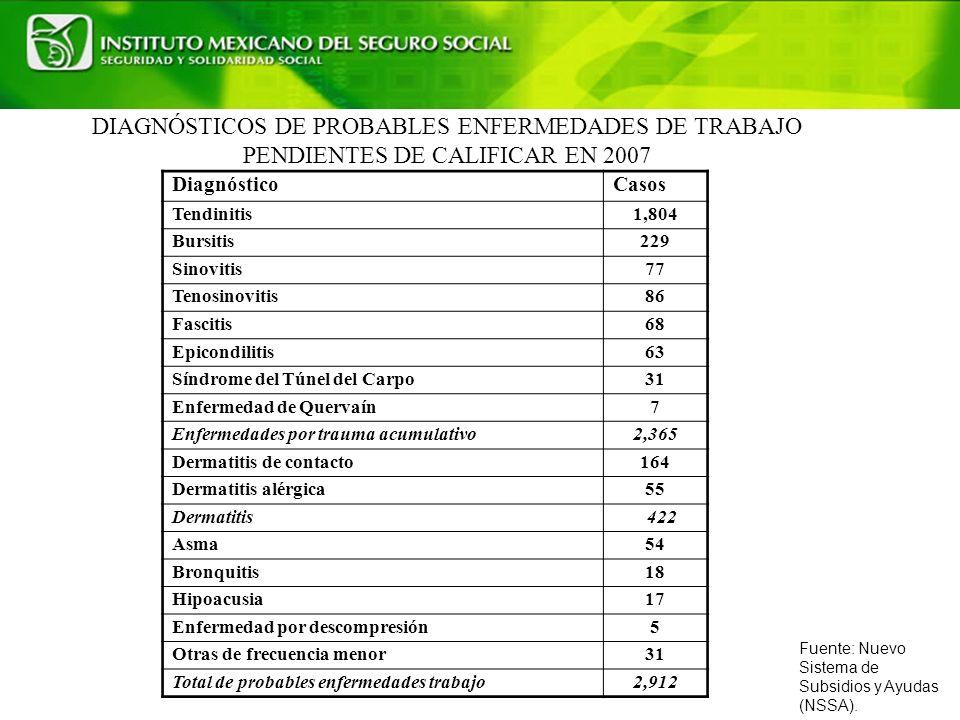 DIAGNÓSTICOS DE PROBABLES ENFERMEDADES DE TRABAJO PENDIENTES DE CALIFICAR EN 2007 Fuente: Nuevo Sistema de Subsidios y Ayudas (NSSA).