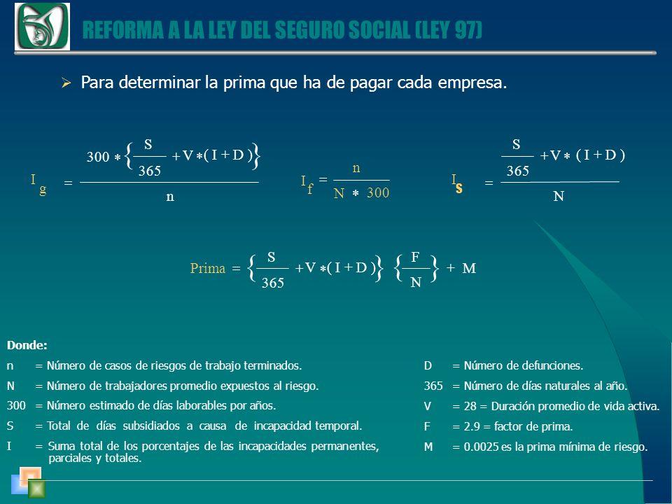 REFORMA A LA LEY DEL SEGURO SOCIAL (LEY 97) Para determinar la prima que ha de pagar cada empresa.