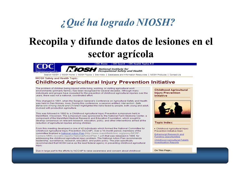 Recopila y difunde datos de lesiones en el sector agrícola