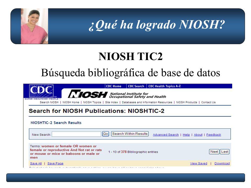 ¿Qué ha logrado NIOSH? NIOSH TIC2 Búsqueda bibliográfica de base de datos
