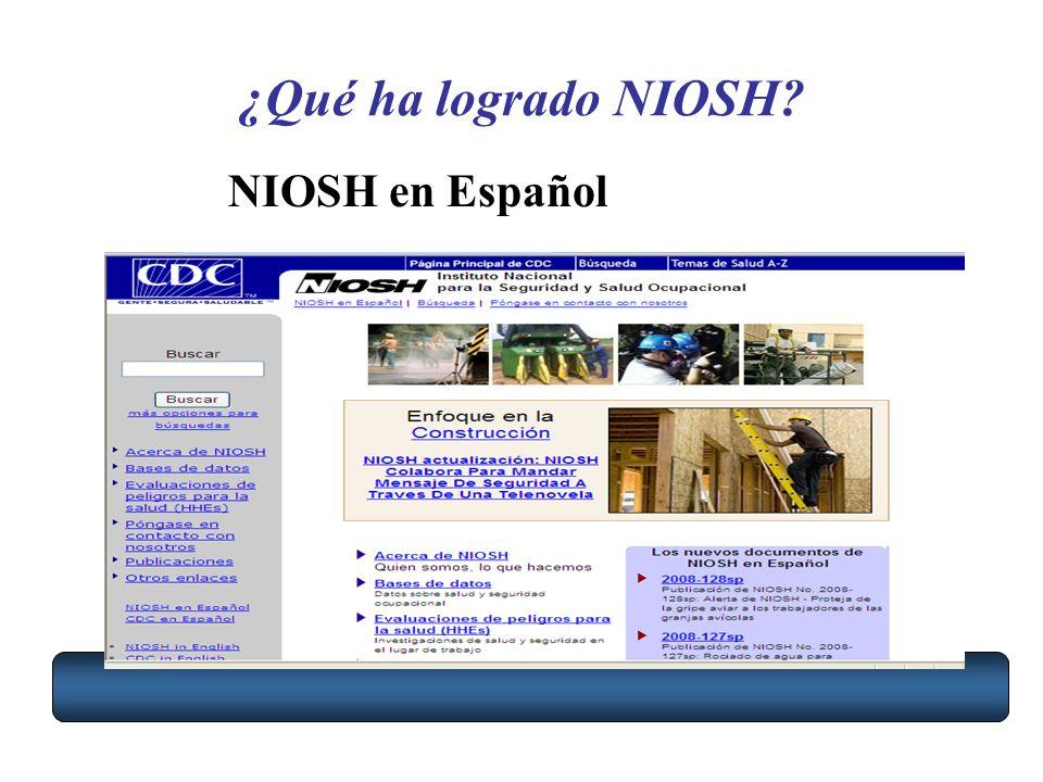 ¿Qué ha logrado NIOSH? NIOSH en Español
