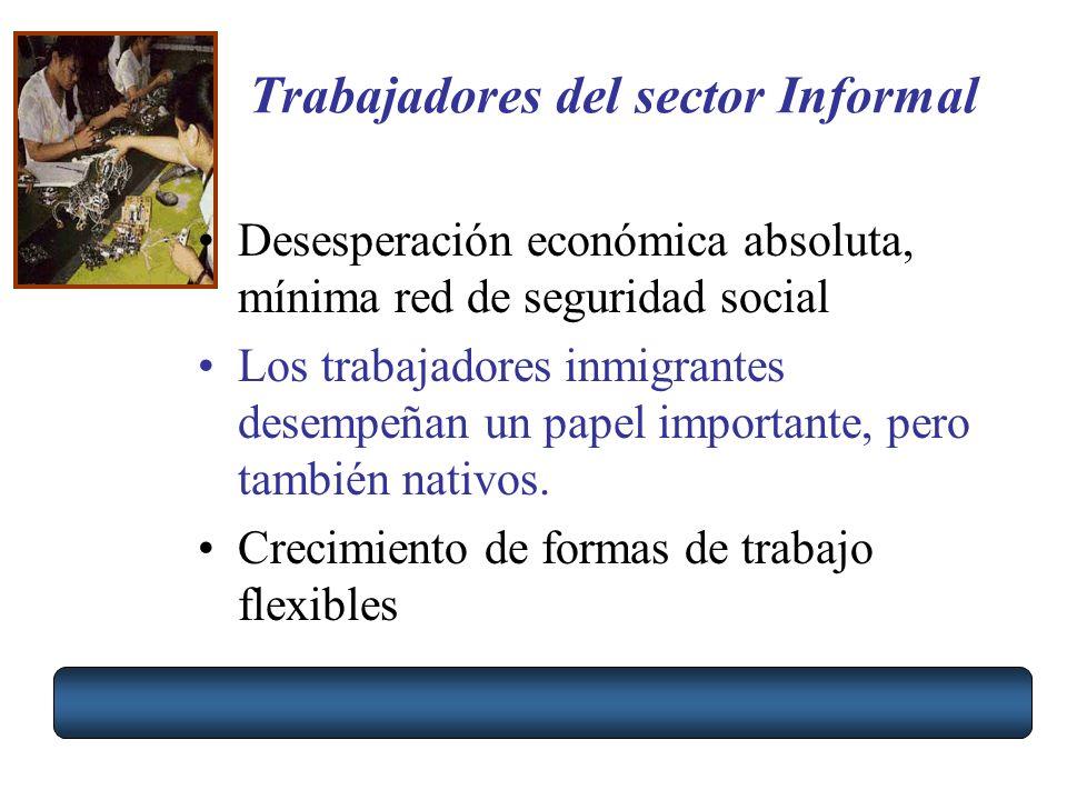 Trabajadores del sector Informal Desesperación económica absoluta, mínima red de seguridad social Los trabajadores inmigrantes desempeñan un papel imp
