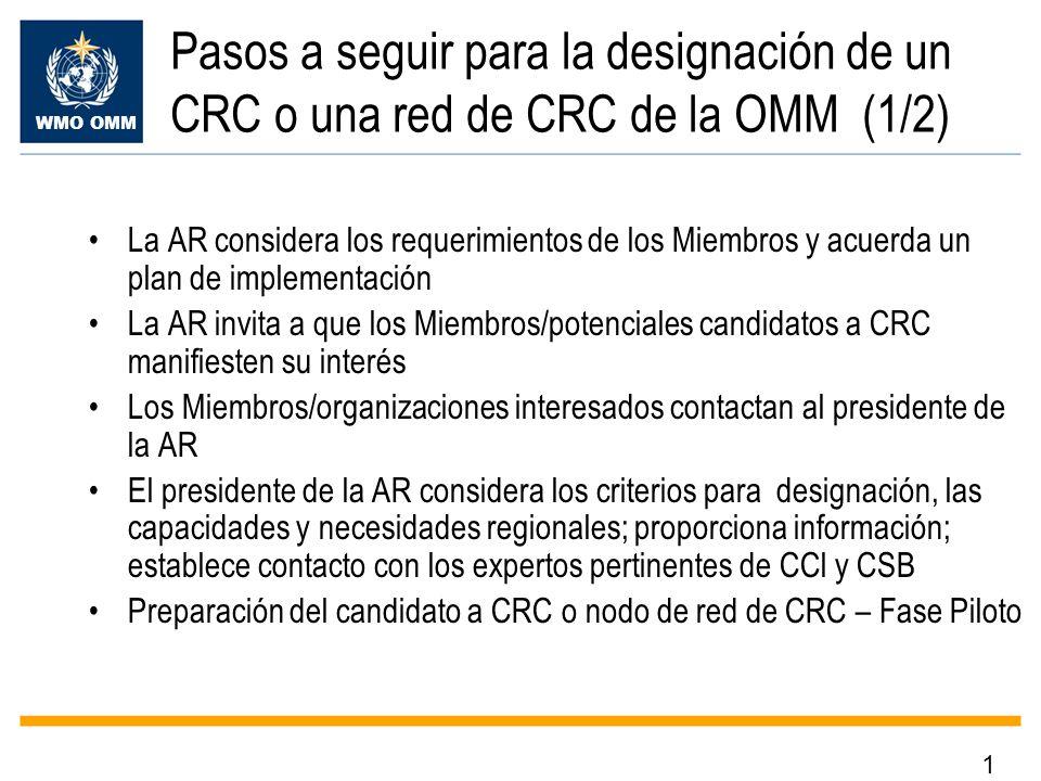 WMO OMM Pasos a seguir para la designación de un CRC o una red de CRC de la OMM (1/2) La AR considera los requerimientos de los Miembros y acuerda un