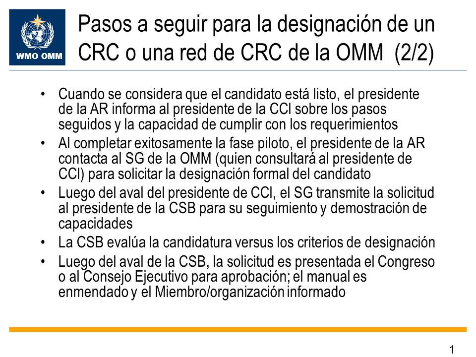 WMO OMM Pasos a seguir para la designación de un CRC o una red de CRC de la OMM (2/2) Cuando se considera que el candidato está listo, el presidente d
