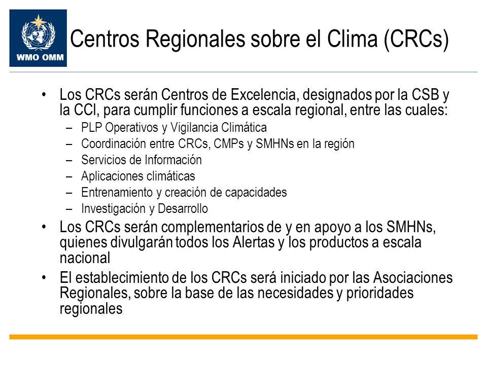 WMO OMM Centros Regionales sobre el Clima (CRCs) Los CRCs serán Centros de Excelencia, designados por la CSB y la CCl, para cumplir funciones a escala