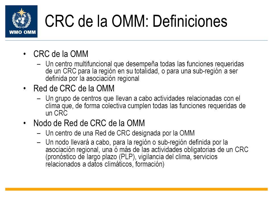 WMO OMM CRC de la OMM: Definiciones CRC de la OMM –Un centro multifuncional que desempeña todas las funciones requeridas de un CRC para la región en s
