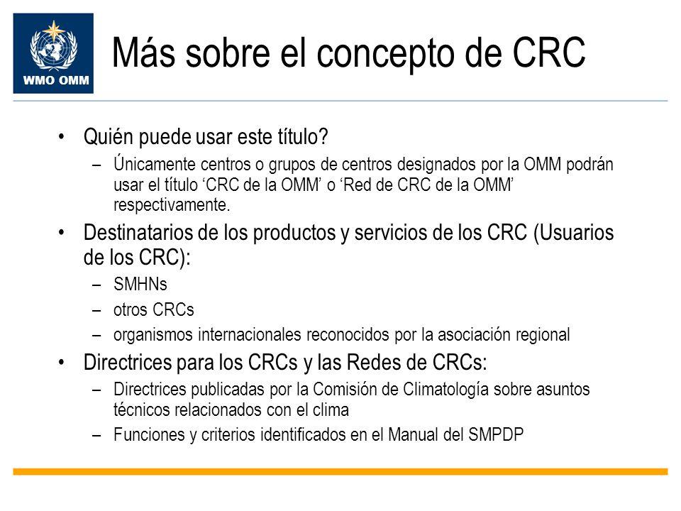 WMO OMM Más sobre el concepto de CRC Quién puede usar este título? –Únicamente centros o grupos de centros designados por la OMM podrán usar el título