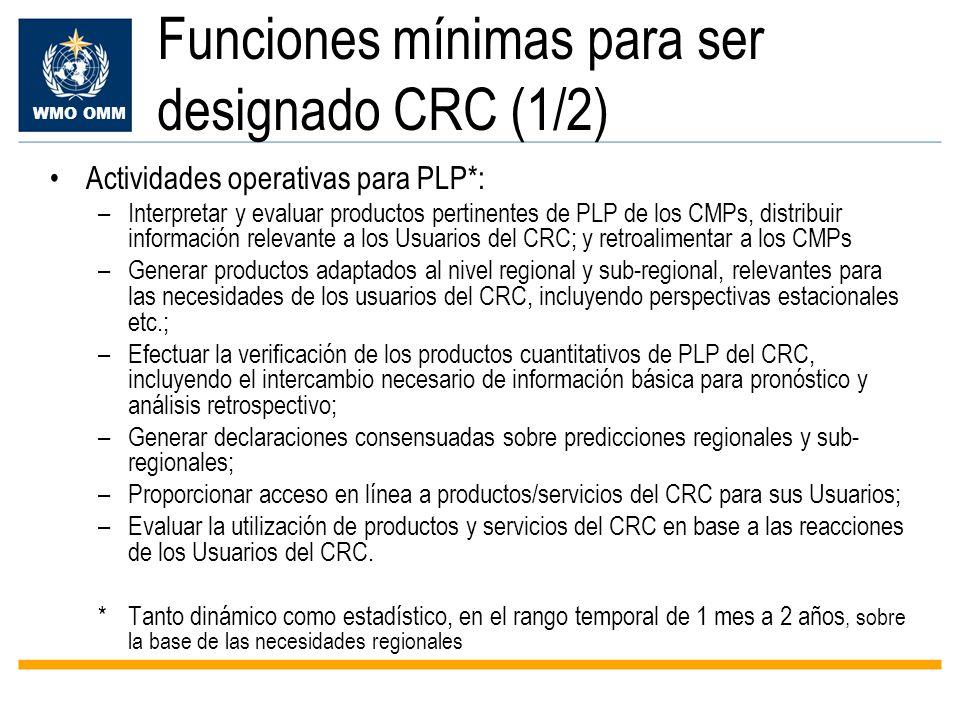 WMO OMM Funciones mínimas para ser designado CRC (1/2) Actividades operativas para PLP*: –Interpretar y evaluar productos pertinentes de PLP de los CM