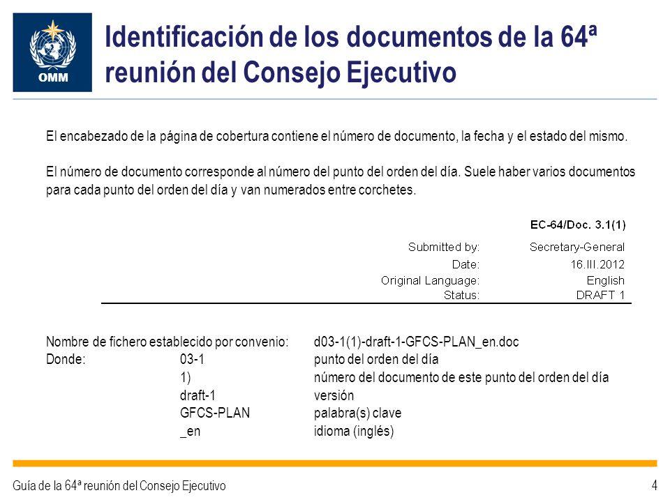 Identificación de los documentos de la 64ª reunión del Consejo Ejecutivo OMM Guía de la 64ª reunión del Consejo Ejecutivo4 El encabezado de la página