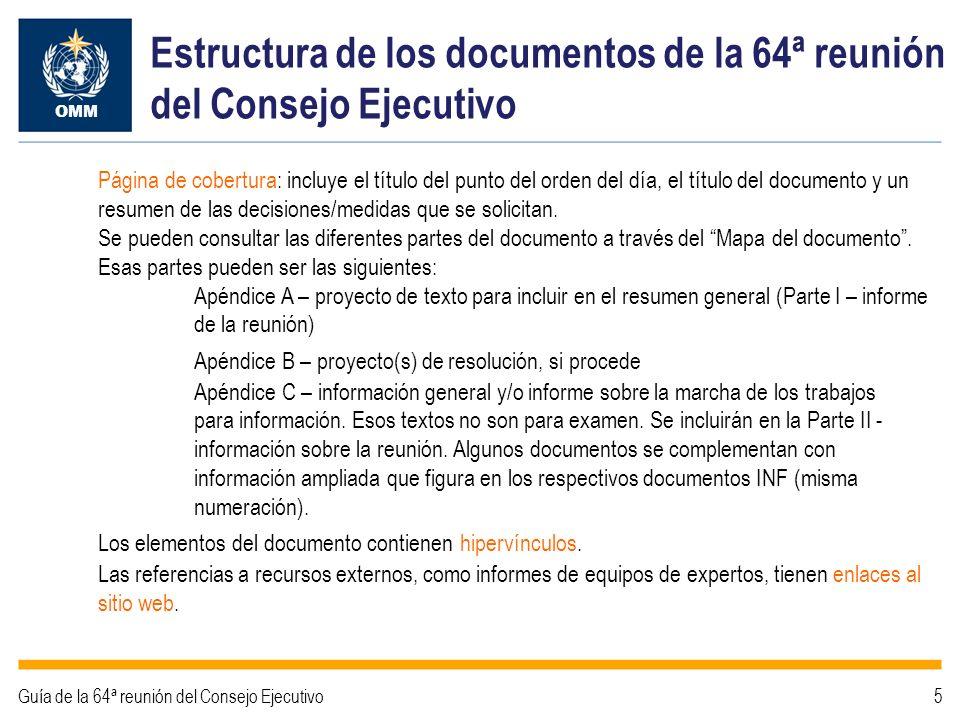 Estructura de los documentos de la 64ª reunión del Consejo Ejecutivo Página de cobertura: incluye el título del punto del orden del día, el título del