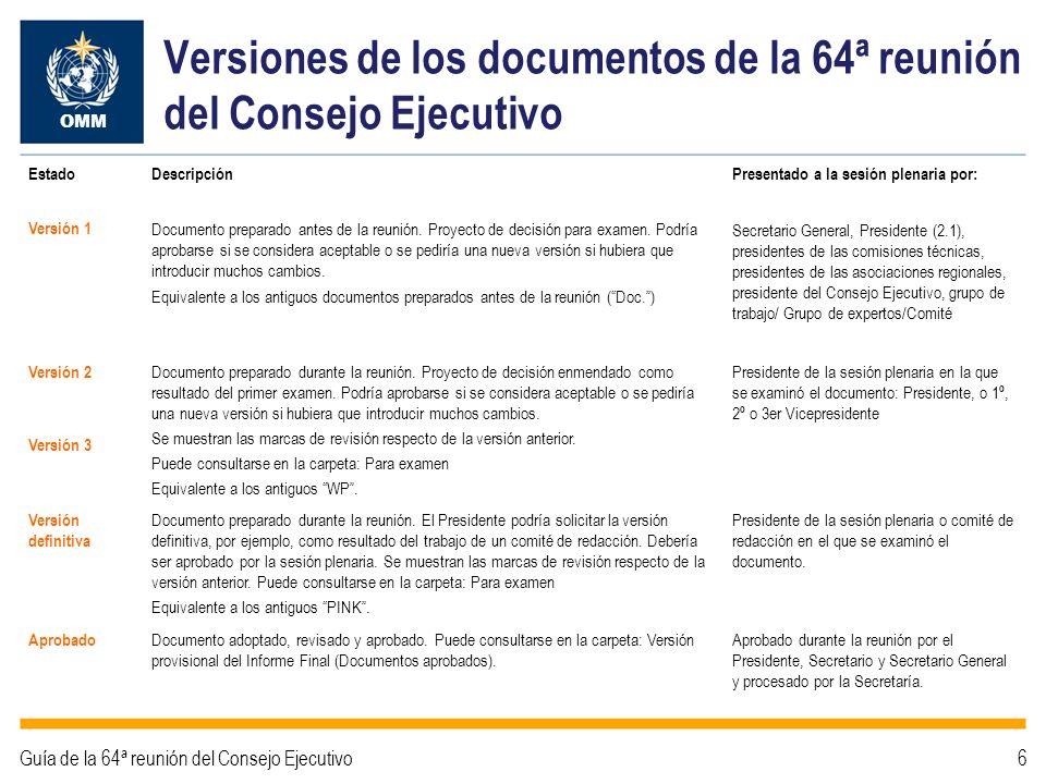 Flujo de documentos de la 64ª reunión del Consejo Ejecutivo Versión 1 Aprobado OMM Guía de la 64ª reunión del Consejo Ejecutivo7 SESIÓN PLENARIA Documentos aprobados - Versión provisional del Informe Final