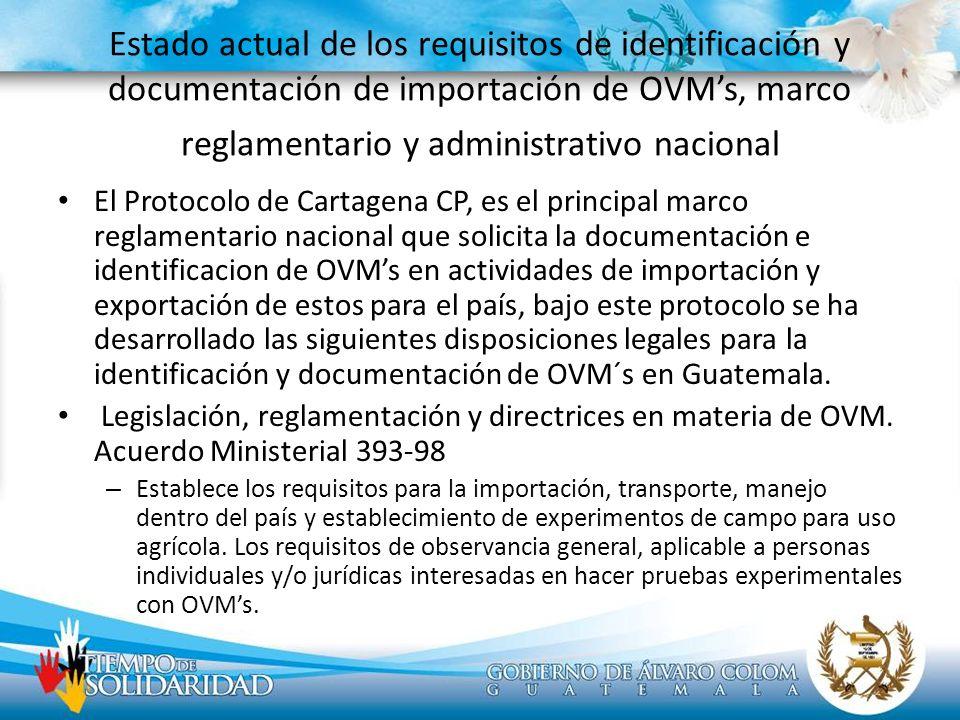 Estado actual de los requisitos de identificación y documentación de importación de OVMs, marco reglamentario y administrativo nacional El Protocolo d