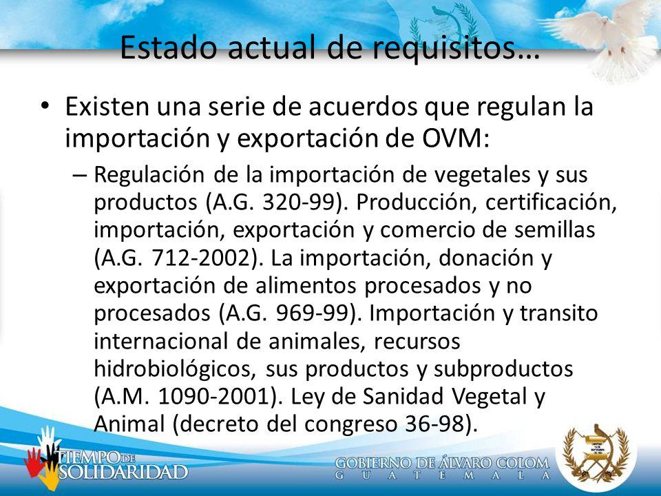 Estado actual de requisitos… Existen una serie de acuerdos que regulan la importación y exportación de OVM: – Regulación de la importación de vegetale