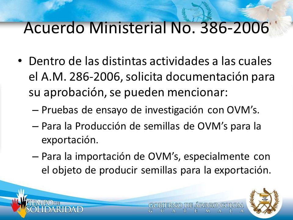 Acuerdo Ministerial No. 386-2006 Dentro de las distintas actividades a las cuales el A.M. 286-2006, solicita documentación para su aprobación, se pued