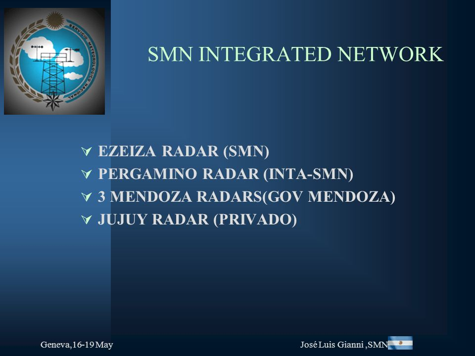 Geneva,16-19 MayJosé Luis Gianni,SMN SMN INTEGRATED NETWORK EZEIZA RADAR (SMN) PERGAMINO RADAR (INTA-SMN) 3 MENDOZA RADARS(GOV MENDOZA) JUJUY RADAR (PRIVADO)