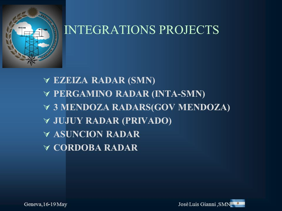 Geneva,16-19 MayJosé Luis Gianni,SMN INTEGRATIONS PROJECTS EZEIZA RADAR (SMN) PERGAMINO RADAR (INTA-SMN) 3 MENDOZA RADARS(GOV MENDOZA) JUJUY RADAR (PR