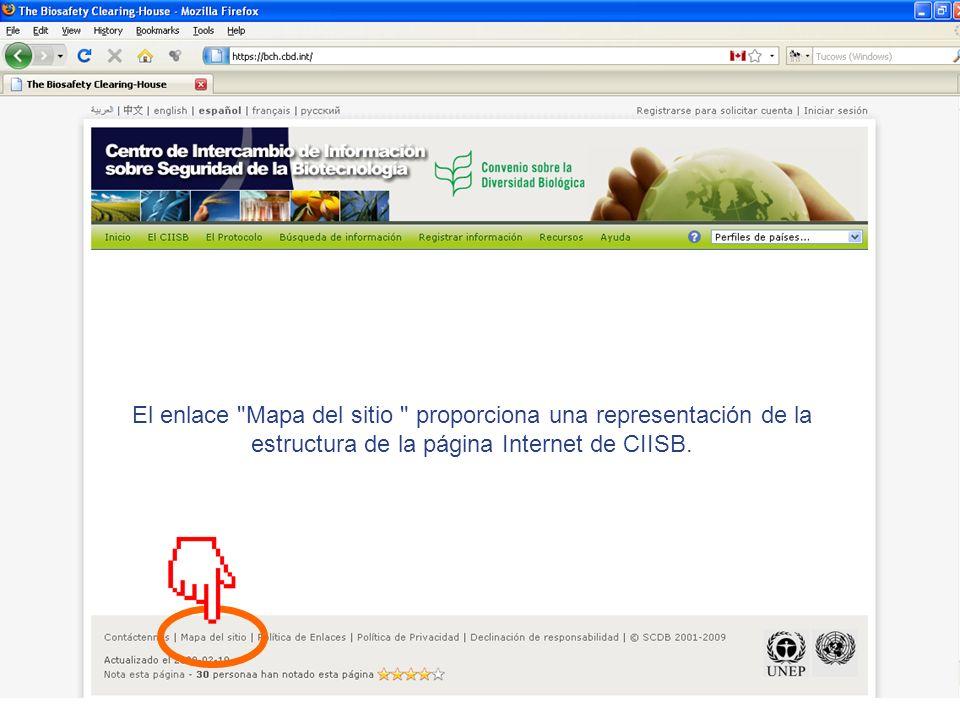 El enlace Mapa del sitio proporciona una representación de la estructura de la página Internet de CIISB.