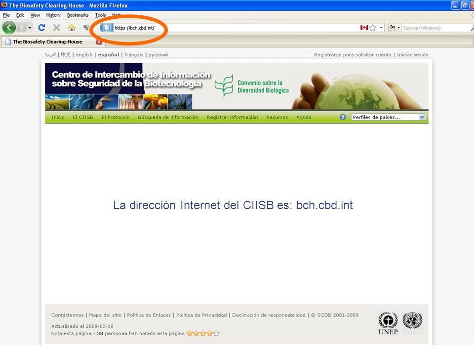 La dirección Internet del CIISB es: bch.cbd.int