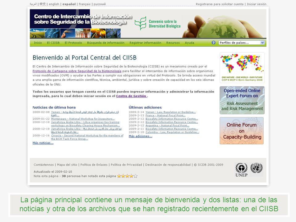 La página principal contiene un mensaje de bienvenida y dos listas: una de las noticias y otra de los archivos que se han registrado recientemente en el CIISB