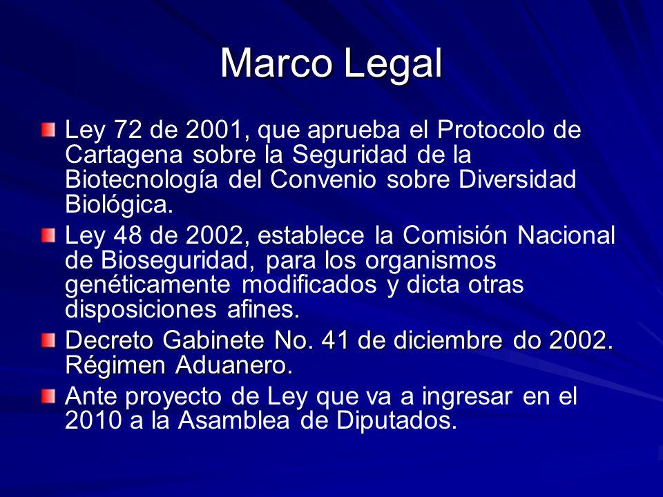 Marco Legal Ley 72 de 2001, que aprueba el Protocolo de Cartagena sobre la Seguridad de la Biotecnología del Convenio sobre Diversidad Biológica. Ley