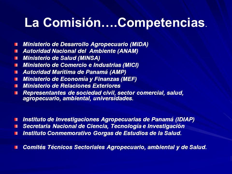 La Comisión….Competencias. Ministerio de Desarrollo Agropecuario (MIDA) Autoridad Nacional del Ambiente (ANAM) Ministerio de Salud (MINSA) Ministerio