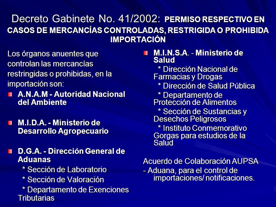 Decreto Gabinete No. 41/2002: PERMISO RESPECTIVO EN CASOS DE MERCANCÍAS CONTROLADAS, RESTRIGIDA O PROHIBIDA IMPORTACIÓN Los órganos anuentes que contr