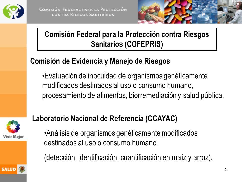 2 Comisión Federal para la Protección contra Riesgos Sanitarios (COFEPRIS) Comisión de Evidencia y Manejo de Riesgos Evaluación de inocuidad de organismos genéticamente modificados destinados al uso o consumo humano, procesamiento de alimentos, biorremediación y salud pública.