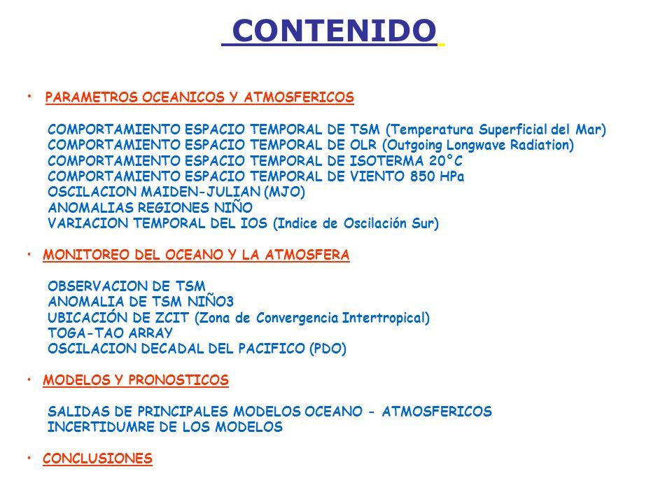 CONTENIDO PARAMETROS OCEANICOS Y ATMOSFERICOS COMPORTAMIENTO ESPACIO TEMPORAL DE TSM (Temperatura Superficial del Mar) COMPORTAMIENTO ESPACIO TEMPORAL DE OLR (Outgoing Longwave Radiation) COMPORTAMIENTO ESPACIO TEMPORAL DE ISOTERMA 20°C COMPORTAMIENTO ESPACIO TEMPORAL DE VIENTO 850 HPa OSCILACION MAIDEN-JULIAN (MJO) ANOMALIAS REGIONES NIÑO VARIACION TEMPORAL DEL IOS (Indice de Oscilación Sur) MONITOREO DEL OCEANO Y LA ATMOSFERA OBSERVACION DE TSM ANOMALIA DE TSM NIÑO3 UBICACIÓN DE ZCIT (Zona de Convergencia Intertropical) TOGA-TAO ARRAY OSCILACION DECADAL DEL PACIFICO (PDO) MODELOS Y PRONOSTICOS SALIDAS DE PRINCIPALES MODELOS OCEANO - ATMOSFERICOS INCERTIDUMRE DE LOS MODELOS CONCLUSIONES