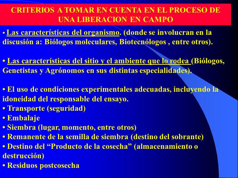 Las características del organismo. (donde se involucran en la discusión a: Biólogos moleculares, Biotecnólogos, entre otros). Las características del