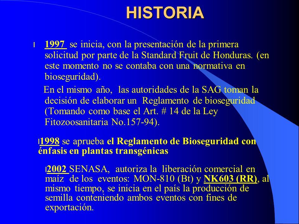 HISTORIA l 1997 se inicia, con la presentación de la primera solicitud por parte de la Standard Fruit de Honduras. (en este momento no se contaba con