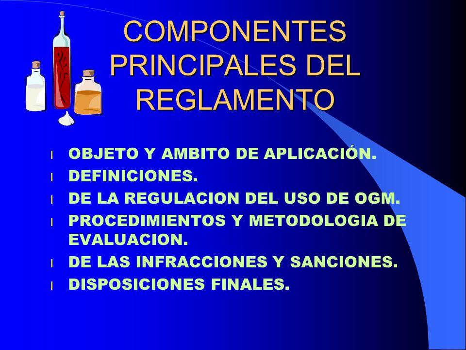 COMPONENTES PRINCIPALES DEL REGLAMENTO l OBJETO Y AMBITO DE APLICACIÓN. l DEFINICIONES. l DE LA REGULACION DEL USO DE OGM. l PROCEDIMIENTOS Y METODOLO