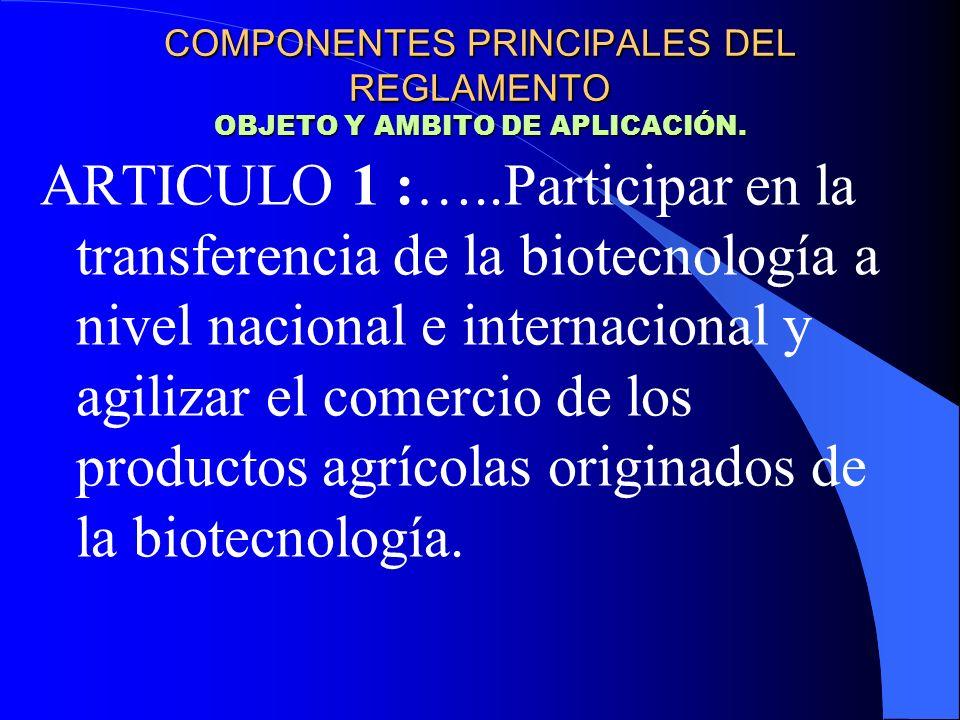 ARTICULO 1 :…..Participar en la transferencia de la biotecnología a nivel nacional e internacional y agilizar el comercio de los productos agrícolas o