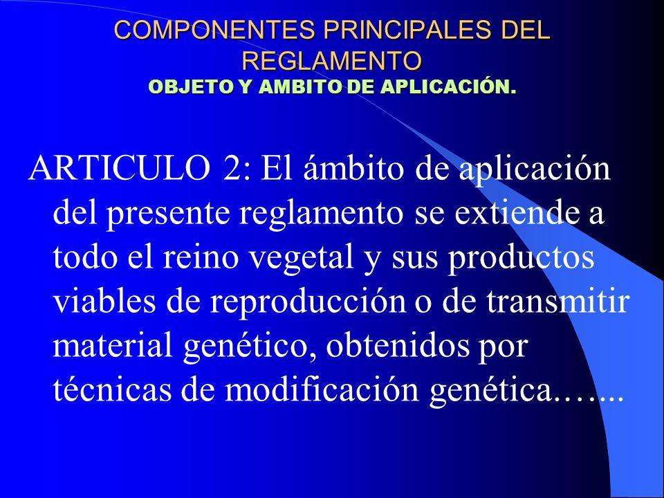ARTICULO 2:….Estas técnicas incluyen: Las de recombinación de ADN que utilizan sistemas de vectores y técnicas que suponen la incorporación directa en una célula de material hereditario preparado fuera de la célula COMPONENTES PRINCIPALES DEL REGLAMENTO OBJETO Y AMBITO DE APLICACIÓN.