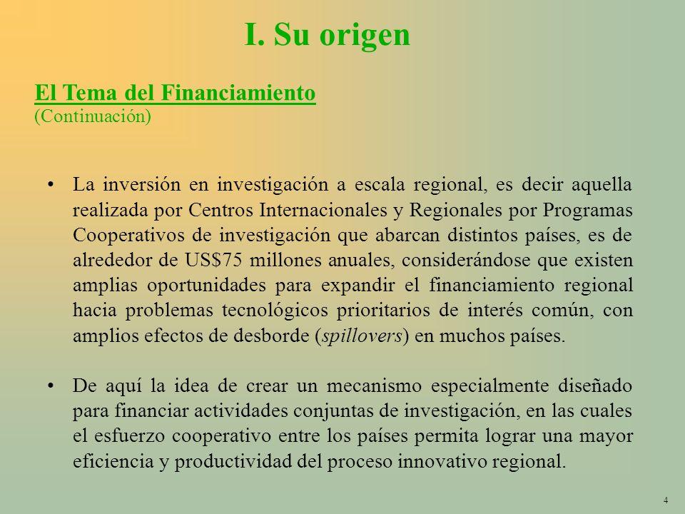 4 I. Su origen La inversión en investigación a escala regional, es decir aquella realizada por Centros Internacionales y Regionales por Programas Coop