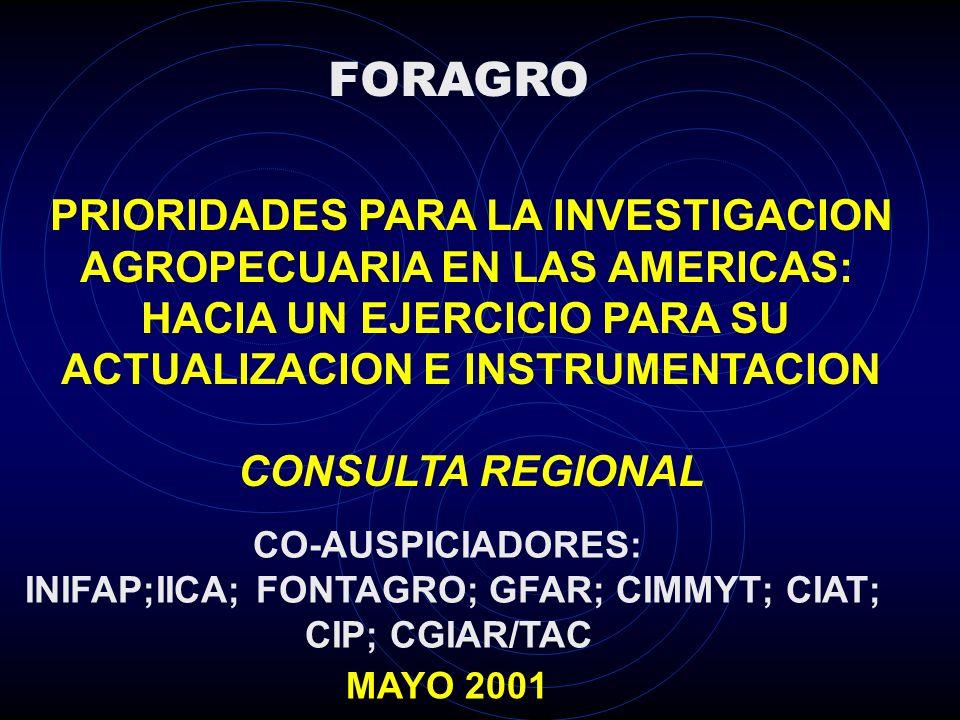 PRIORIDADES PARA LA INVESTIGACION AGROPECUARIA EN LAS AMERICAS: HACIA UN EJERCICIO PARA SU ACTUALIZACION E INSTRUMENTACION CONSULTA REGIONAL MAYO 2001 FORAGRO CO-AUSPICIADORES: INIFAP;IICA; FONTAGRO; GFAR; CIMMYT; CIAT; CIP; CGIAR/TAC