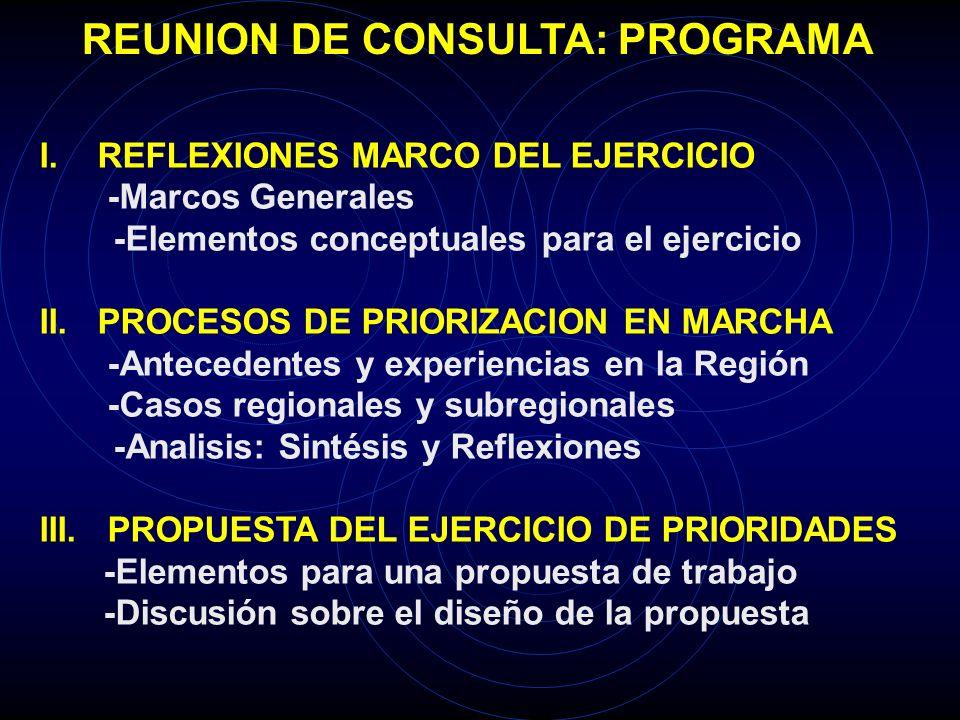 REUNION DE CONSULTA: PROGRAMA I. REFLEXIONES MARCO DEL EJERCICIO -Marcos Generales -Elementos conceptuales para el ejercicio II. PROCESOS DE PRIORIZAC