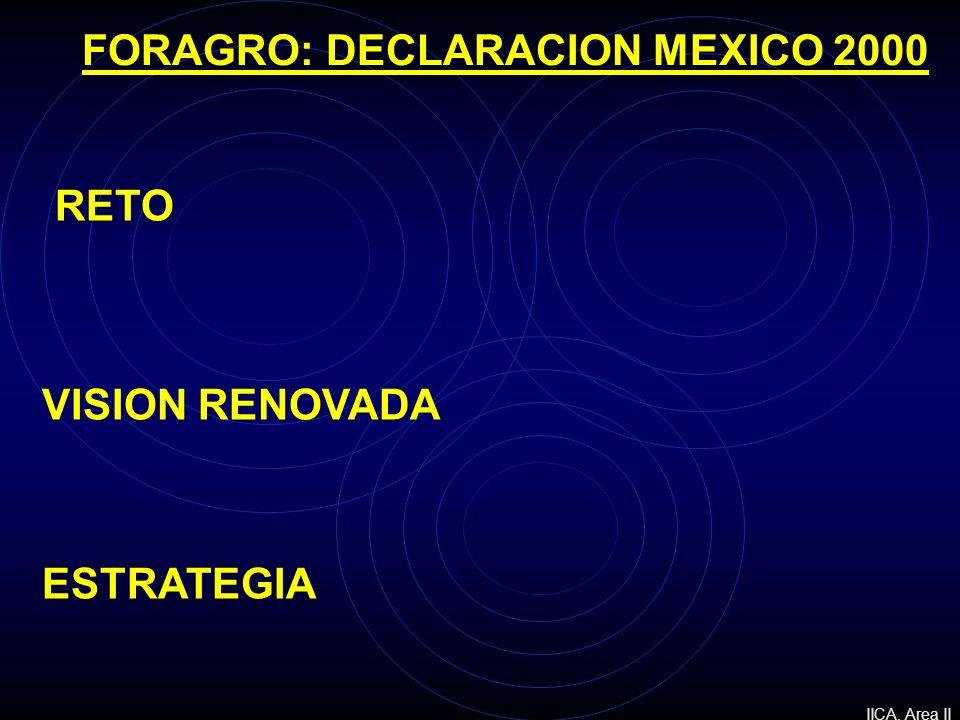 RETO VISION RENOVADA ESTRATEGIA FORAGRO: DECLARACION MEXICO 2000 IICA. Area II