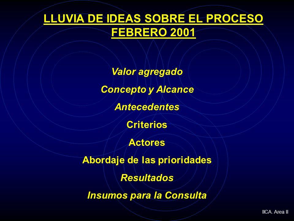 LLUVIA DE IDEAS SOBRE EL PROCESO FEBRERO 2001 Valor agregado Concepto y Alcance Antecedentes Criterios Actores Abordaje de las prioridades Resultados Insumos para la Consulta IICA.