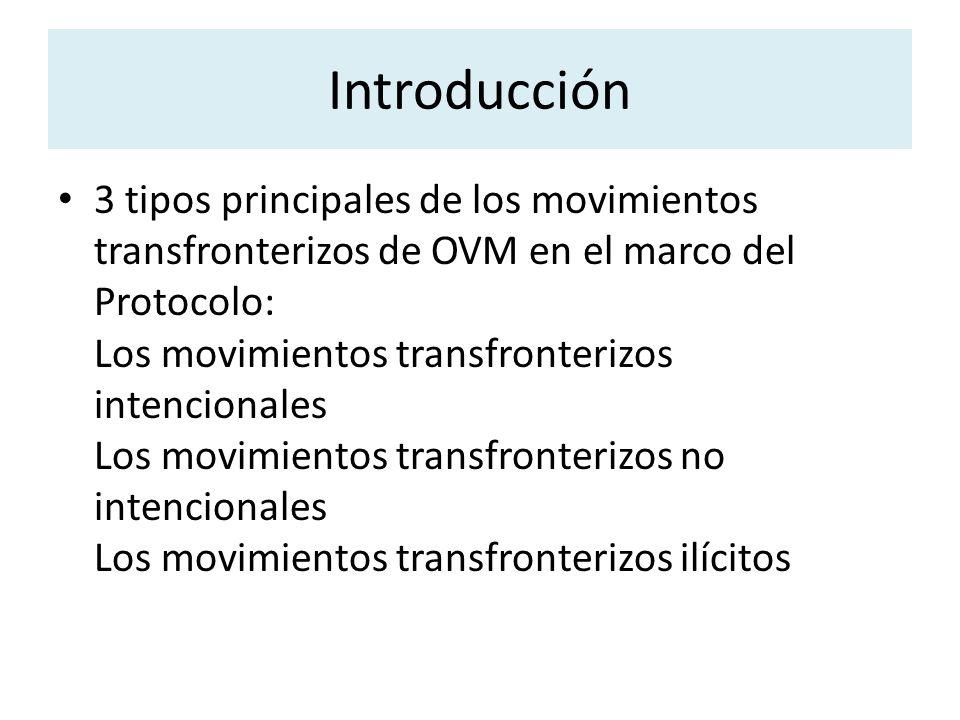 3 tipos principales de los movimientos transfronterizos de OVM en el marco del Protocolo: Los movimientos transfronterizos intencionales Los movimient