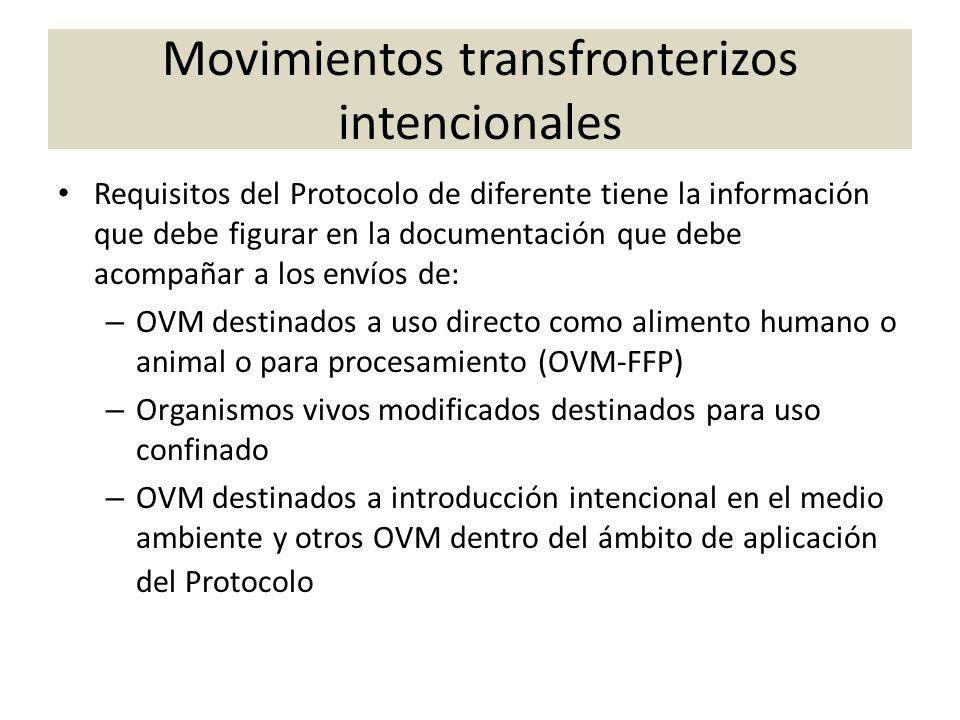 Movimientos transfronterizos intencionales Requisitos del Protocolo de diferente tiene la información que debe figurar en la documentación que debe ac