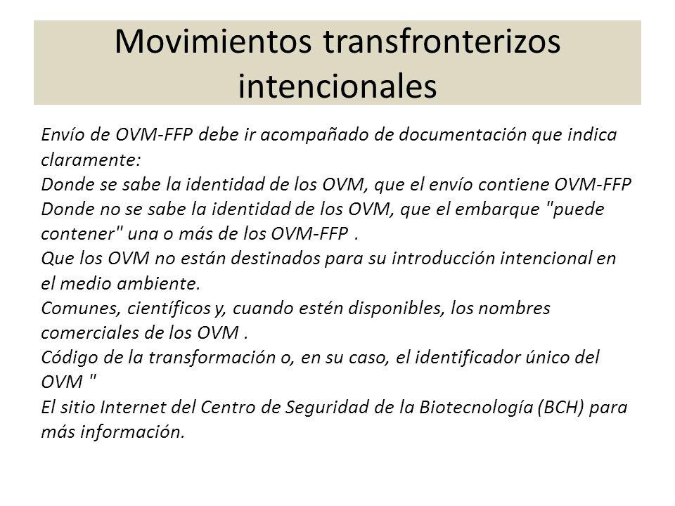 Envío de OVM-FFP debe ir acompañado de documentación que indica claramente: Donde se sabe la identidad de los OVM, que el envío contiene OVM-FFP Donde