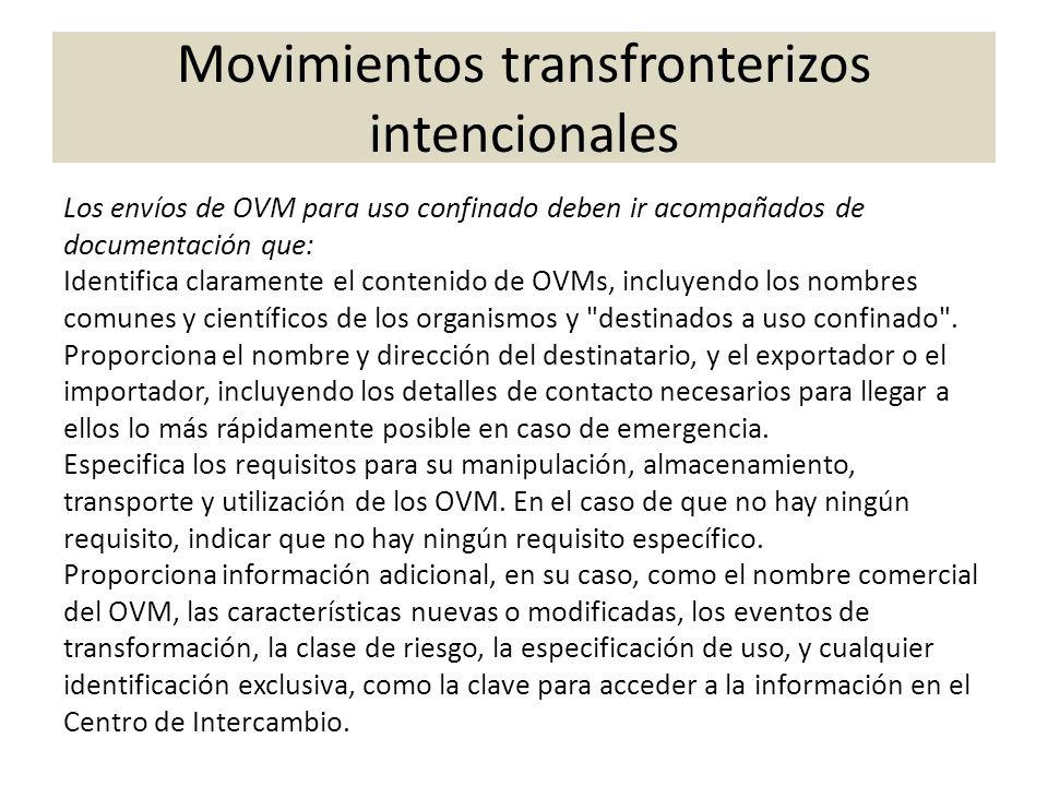 Los envíos de OVM para uso confinado deben ir acompañados de documentación que: Identifica claramente el contenido de OVMs, incluyendo los nombres com